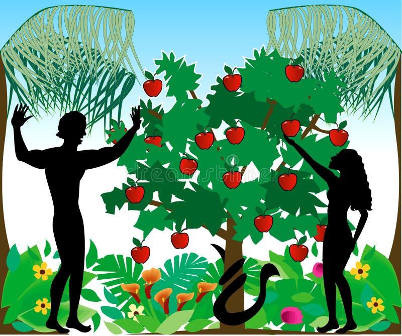 Adam & Eve Silhouettes Stock Images