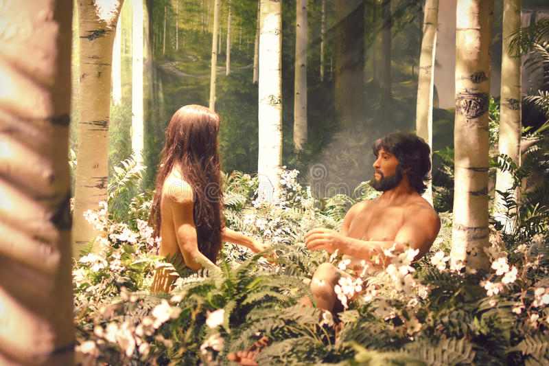 Adam & Eve. Statues of Adam and Eve in the Garden of Eden at the Creation Museum in Florence, Kentucky royalty free stock photos