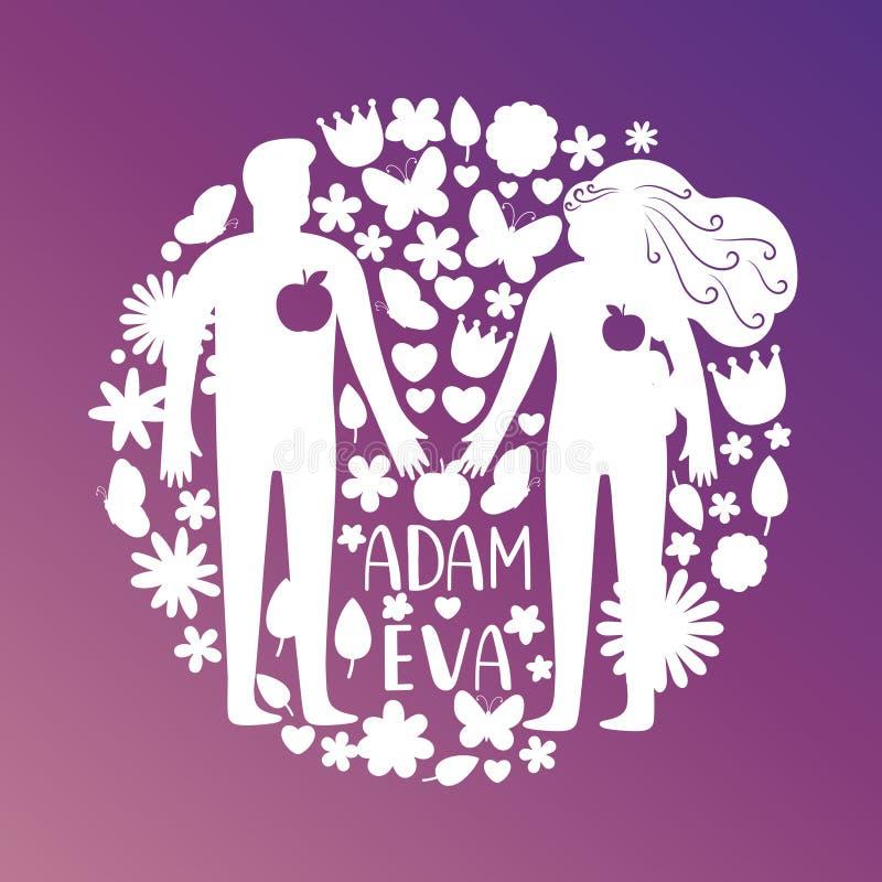 Adam i wigilii sylwetki para w miłości z kwiatami i ptaka wektoru pojęcie, royalty ilustracja