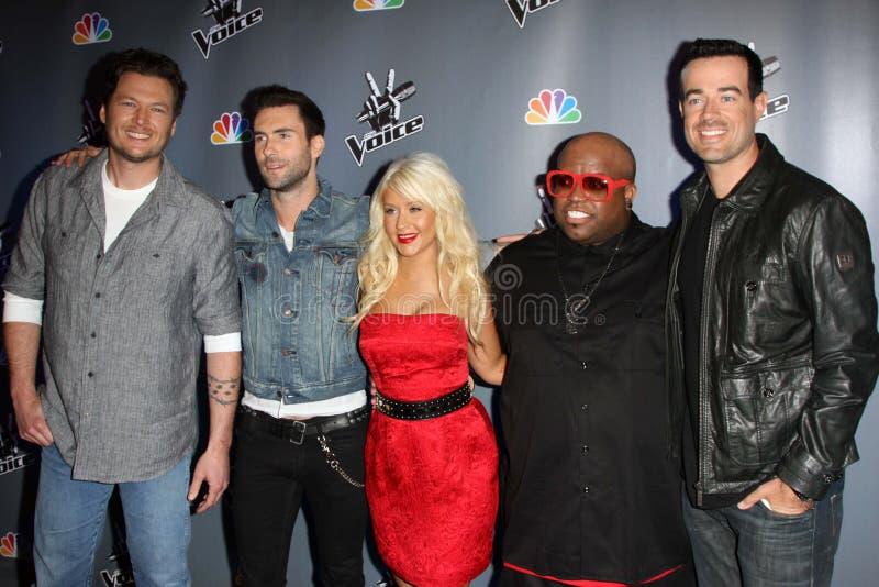 Adam Levine, Blake Shelton, Carson Daly, Cee Lo, Cee Lo Green, Cee-Lo, verde de Cee-Lo, Christina Aguilera fotos de archivo libres de regalías