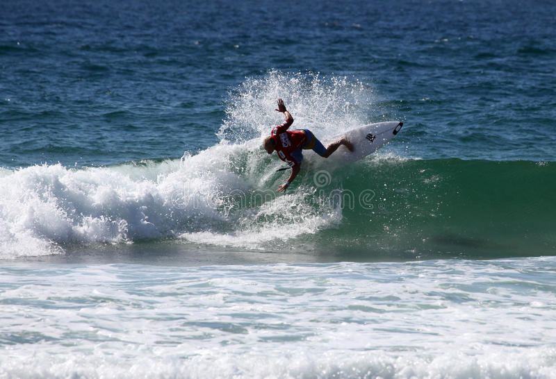 Adam Melling - Australian Open Manly Australia. MANLY AUSTRALIA - FEBRUARY 17: Adam Melling surfing during competition in the Australian Surfing Open at Manly royalty free stock image