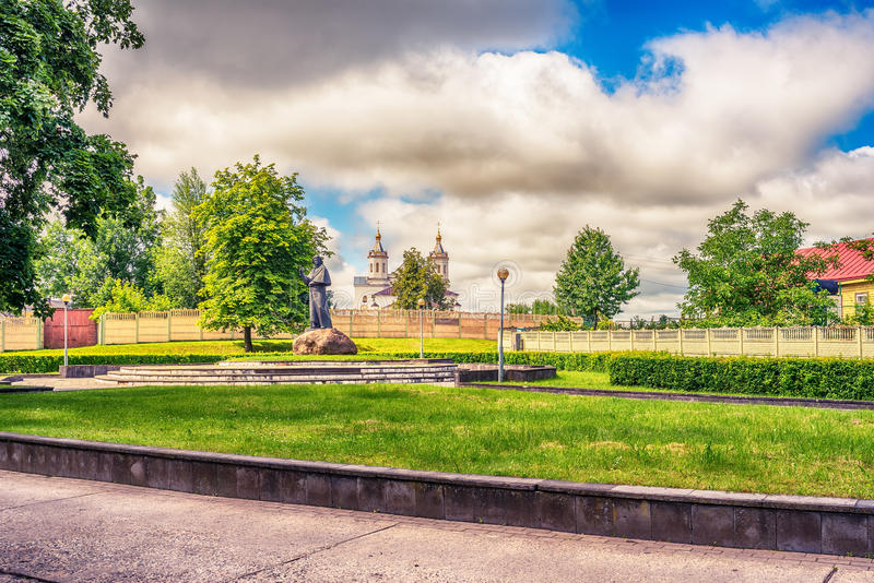 Adam Mickiewicz monument in Navahrudak, Belarus. Adam Mickiewicz monument in Navahrudak, Nowogrodek, Novogrudok, Belarus stock photo