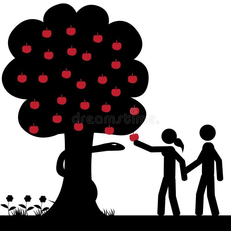 Adam och eva stock illustrationer