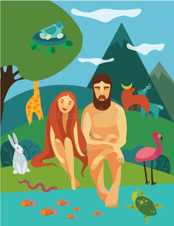 Adam och Eva i Eden Garden vektor illustrationer