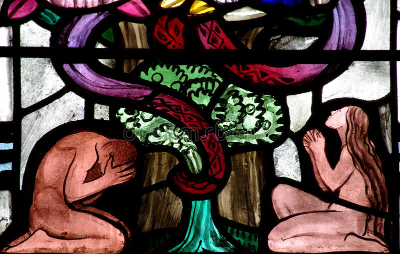 Adam och helgdagsafton i paradiset (målat glass) arkivbild