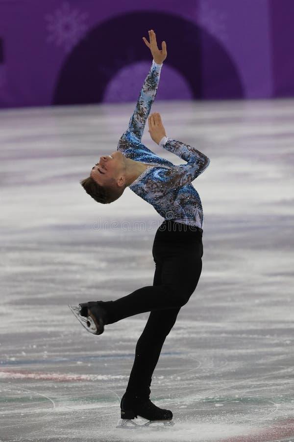 Adam Rippon de los Estados Unidos se realiza en el patinaje libre de Team Event Men Single Skating en las 2018 olimpiadas de invi foto de archivo libre de regalías