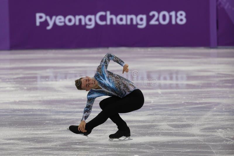 Adam Rippon van de Verenigde Staten voert in Team Event Men Single Skating het Vrije Schaatsen bij 2018 de Winterolympics uit royalty-vrije stock fotografie