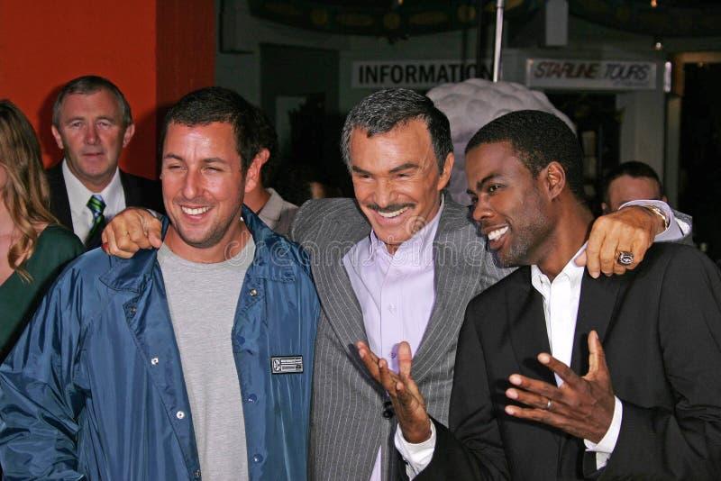 Adam Sandler, Burt Reynolds, Chris Rock. Adam Sandler, Burt Reynolds and Chris Rock at the 'The Longest Yard' World Premiere, Grauman's Chinese Theatre royalty free stock photo