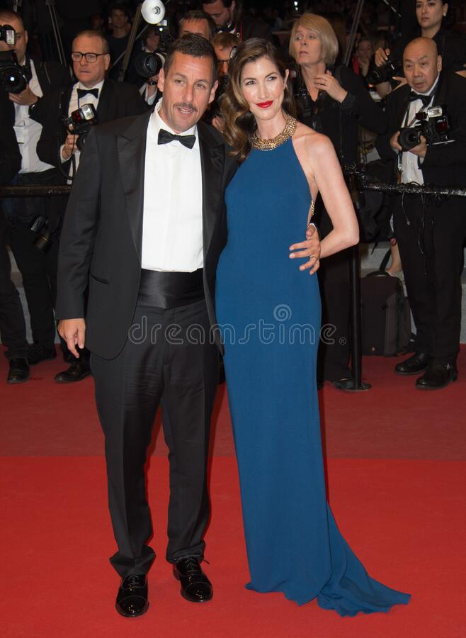 Adam Sandler & Jackie Sandler. CANNES, FR - May 21, 2017: Adam Sandler & wife Jackie Sandler at the premiere for The Meyerowitz Stories at the 70th Festival de stock photos