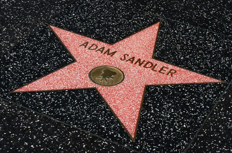 Adam Sandler-ster op de Hollwyood-Gang van Bekendheid stock foto