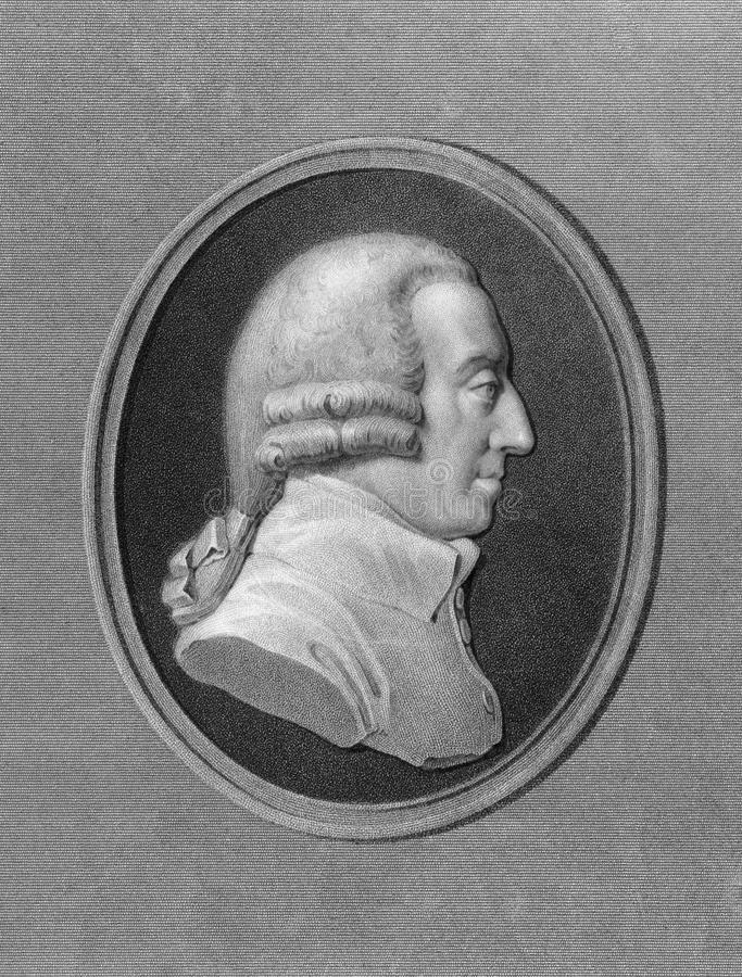 Adam Smith. (1723-1790) on engraving from the 1800s. Scottish moral philosopher and pioneer of political economy. Engraved by W. Holl and published in London by royalty free stock photos