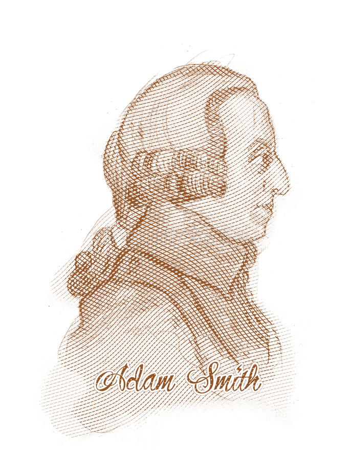 Adam Smith Graweruje Stylowego nakreślenie portret