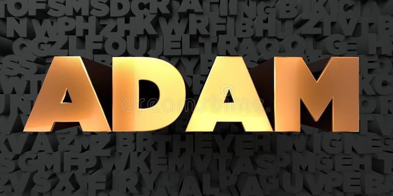 Adam - Złocisty tekst na czarnym tle - 3D odpłacający się królewskość bezpłatny akcyjny obrazek royalty ilustracja