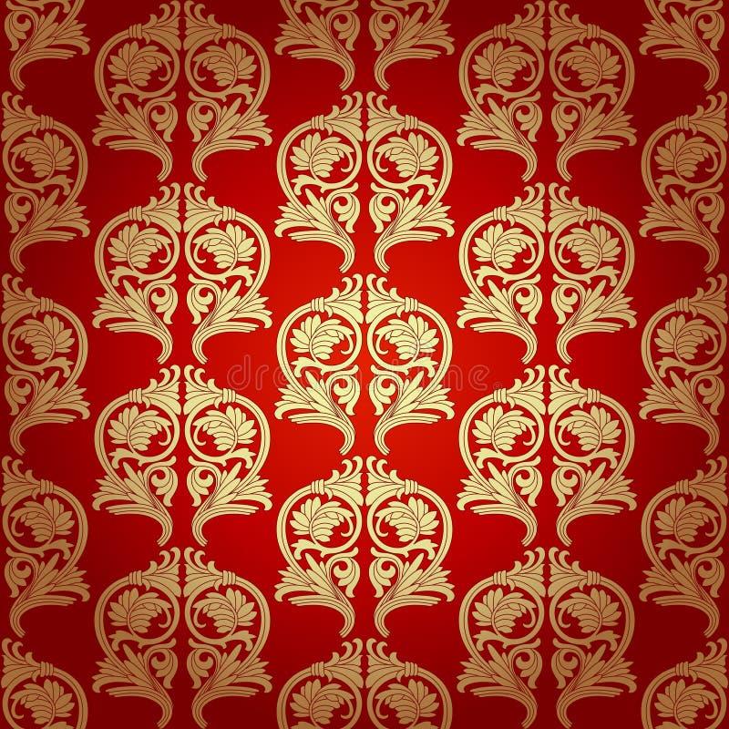 Adamaszek Bezszwowy Z Barokowymi ornamentami. royalty ilustracja