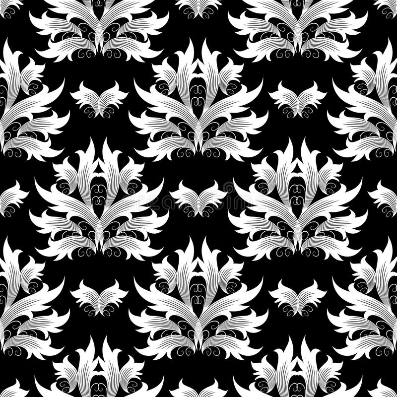 Adamaszek kwitnie bezszwowego wzór wszystkie tła podkręć barok ilustracja wektor oddzielnie Kwiecisty wallp royalty ilustracja