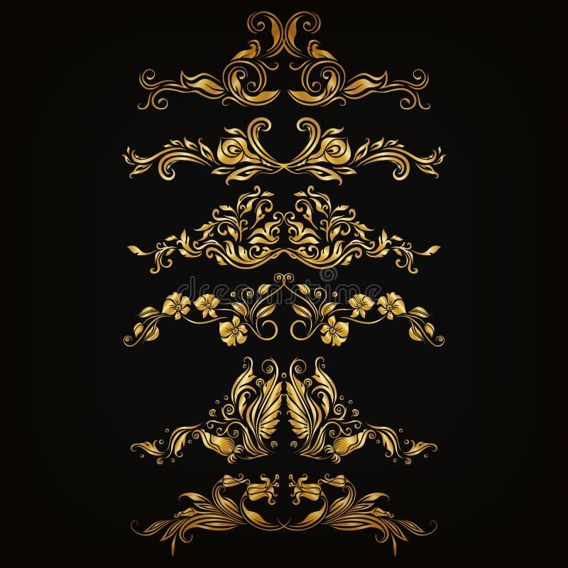 adamaszek ornamentuje setu wektor royalty ilustracja