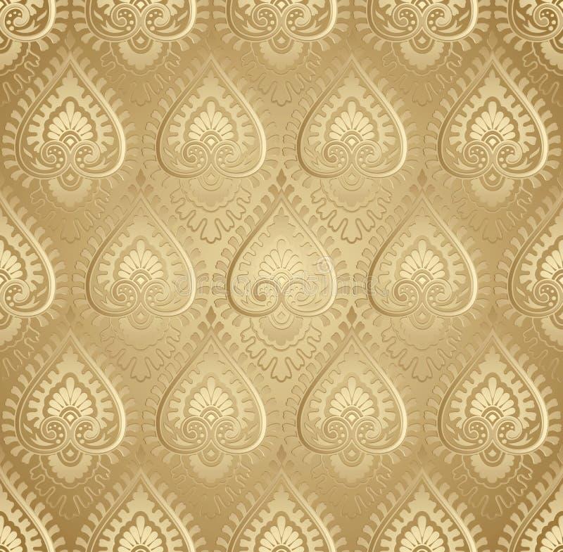 Adamaszek wektorowa złota tapeta ilustracji