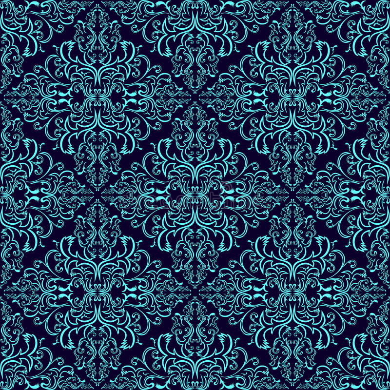 Adamaszkowa bezszwowa tapeta: błękit na zmroku - błękit ilustracji