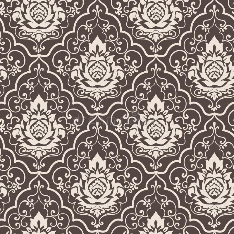 Adamaszkowego wektoru wzoru prosty bezszwowy kwiat elegancki royalty ilustracja