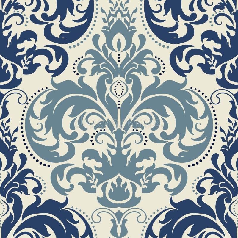 Adamaszkowy bezszwowy deseniowy tło Klasyczny luksusowy staromodny adamaszkowy ornament, królewskiego wiktoriański bezszwowa teks ilustracji