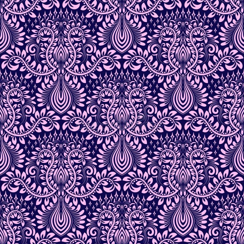 Adamaszkowy bezszwowy deseniowy wielostrzałowy tło Błękita różowy kwiecisty ornament w baroku stylu royalty ilustracja