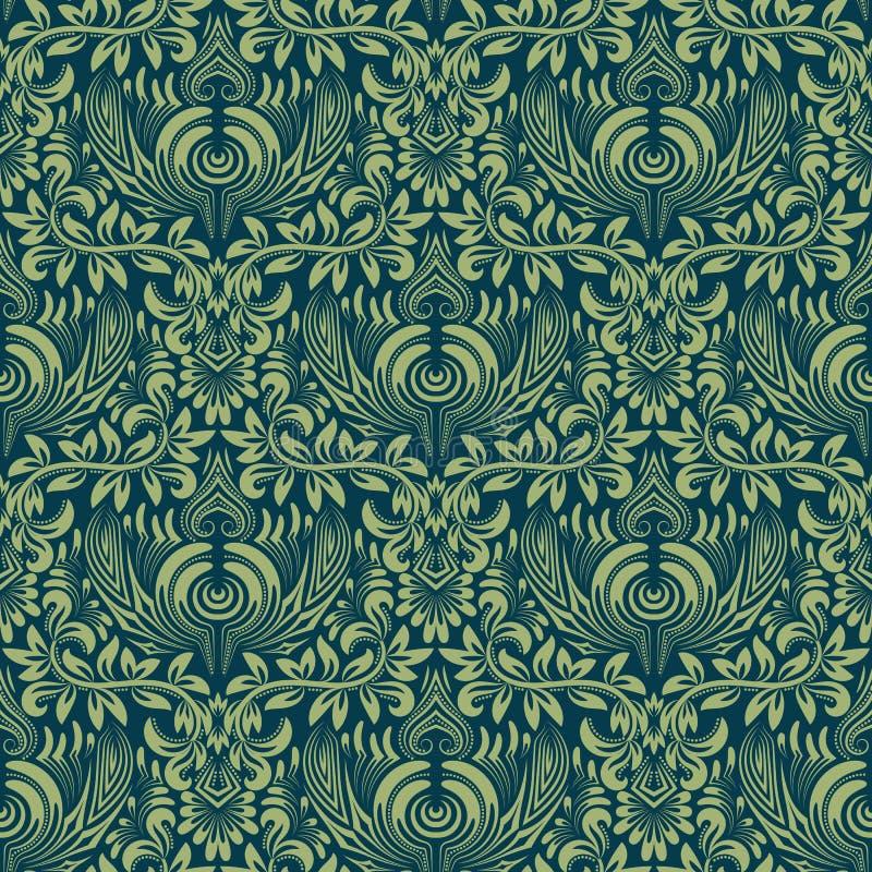 Adamaszkowy bezszwowy deseniowy wielostrzałowy tło Błękitnej zieleni kwiecisty ornament w baroku stylu ilustracji