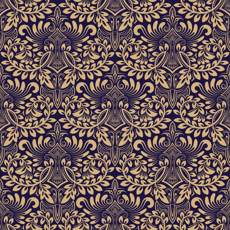 Adamaszkowy bezszwowy deseniowy wielostrzałowy tło Błękitny beżowy kwiecisty ornament w baroku stylu ilustracja wektor