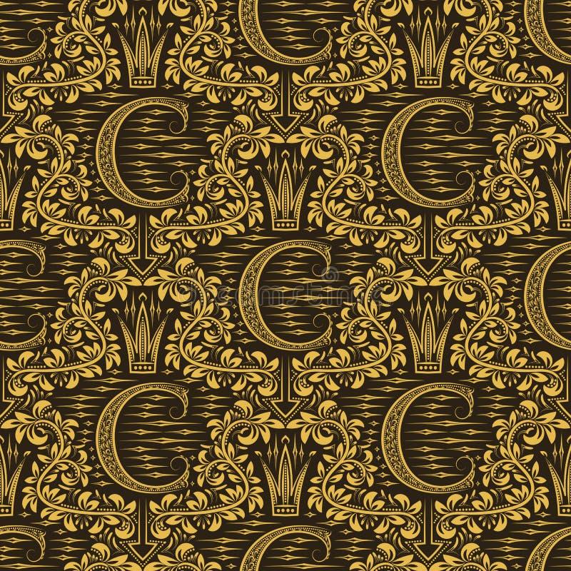 Adamaszkowy bezszwowy deseniowy wielostrzałowy tło Złocisty brown kwiecisty ornament z C listem i korona w baroku projektujemy ilustracja wektor
