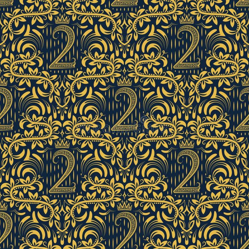 Adamaszkowy bezszwowy deseniowy wielostrzałowy tło Złoty błękitny kwiecistego ornamentu numer dwa i korona w baroku projektujemy ilustracji