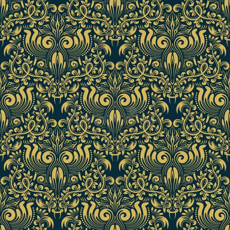 Adamaszkowy bezszwowy deseniowy wielostrzałowy tło Złoty błękitny kwiecisty ornament w baroku stylu ilustracja wektor