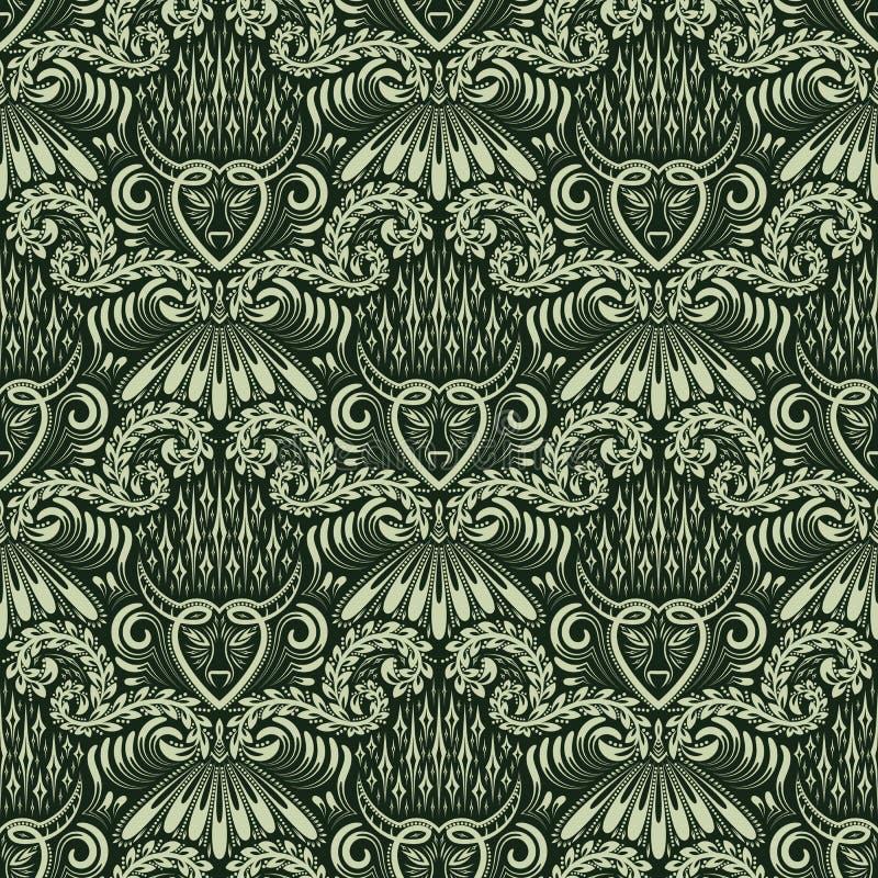 Adamaszkowy bezszwowy deseniowy wielostrzałowy tło Zielony kwiecisty ornament w baroku stylu ilustracja wektor