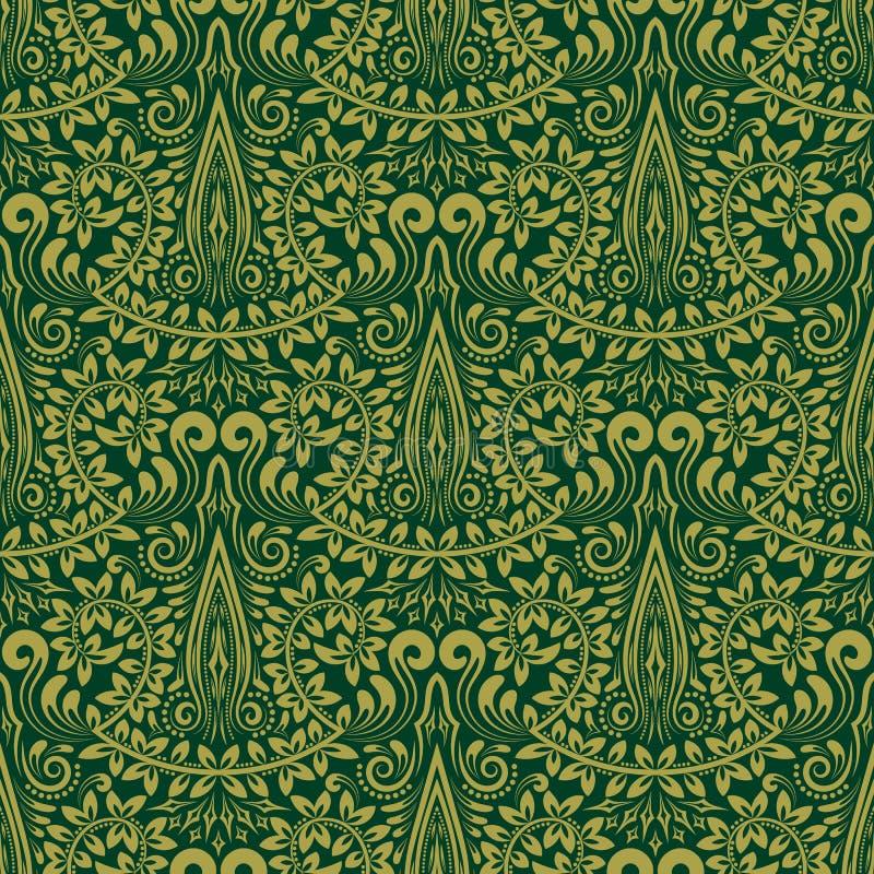 Adamaszkowy bezszwowy deseniowy wielostrzałowy tło Zielony kwiecisty ornament w baroku stylu ilustracji