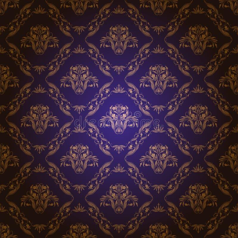Adamaszkowy bezszwowy kwiecisty wzór ilustracja wektor