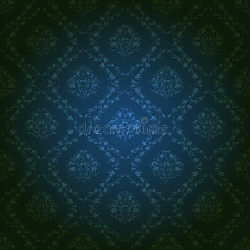 Adamaszkowy bezszwowy kwiecisty wzór royalty ilustracja