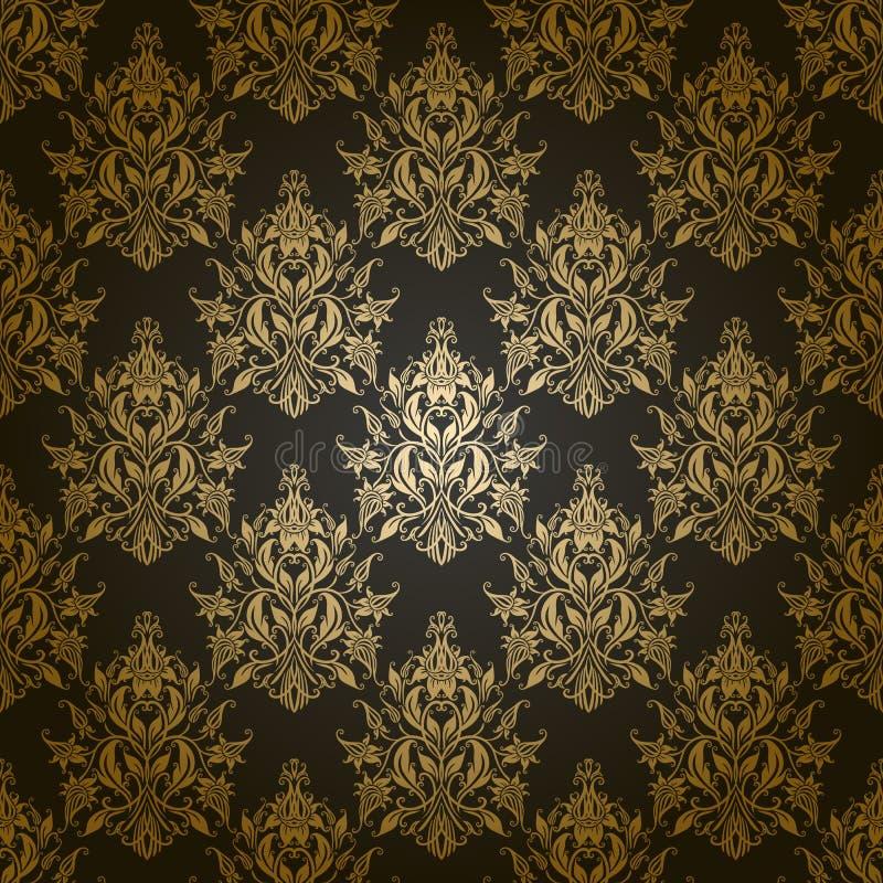 Adamaszkowy bezszwowy kwiecisty wzór. royalty ilustracja