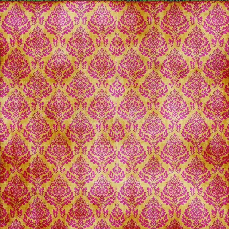 adamaszkowy czerwony bezszwowy złoto royalty ilustracja