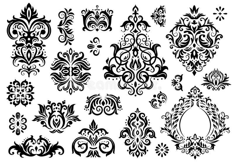 Adamaszkowy ornament Roczników kwieciści sprigs wzory, barok ornamenty i wiktoriański wystroju ornamentacyjni wzory wektorowi, ilustracji