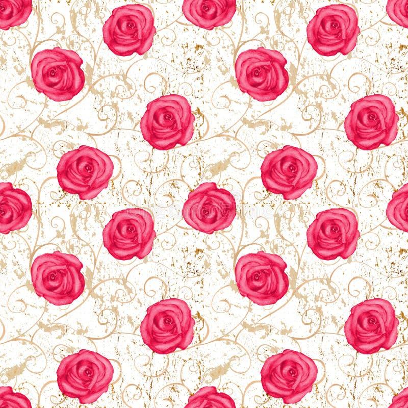 Adamaszkowych róż bezszwowy wzór ilustracji