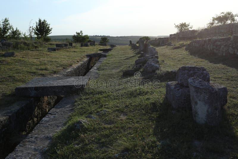 Adamclisi ruiny w Rumunia, wewnętrzne ściany obraz royalty free