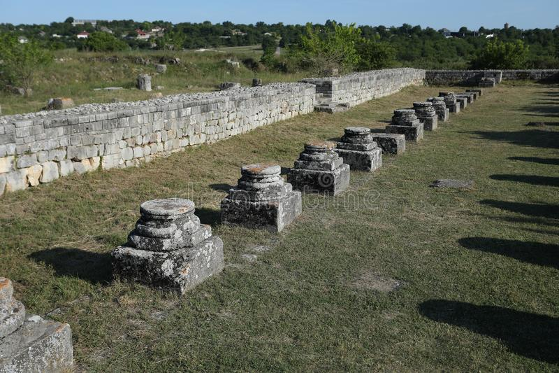 Adamclisi ruiny w Rumunia, zakończenie widok fotografia stock