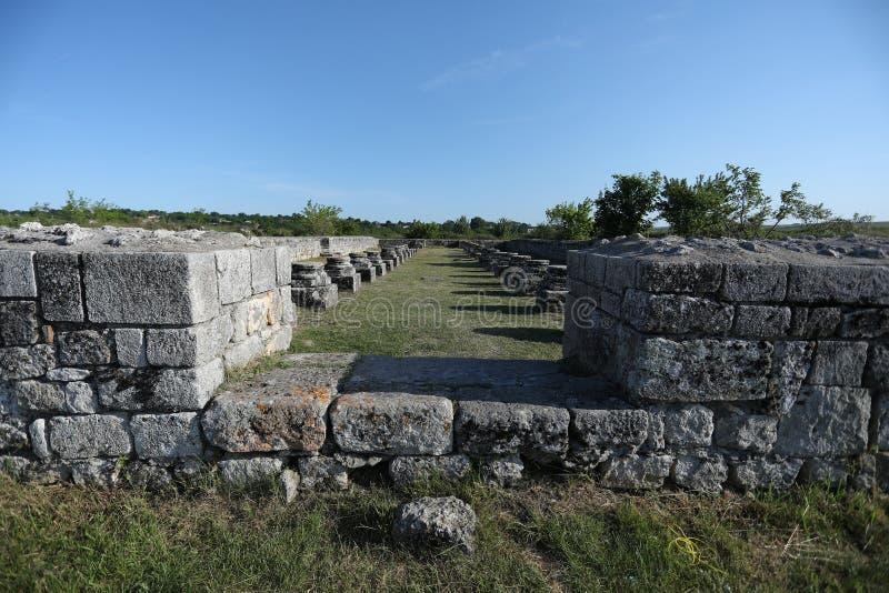 Adamclisi ruiny w Rumunia, zakończenie widok obrazy stock