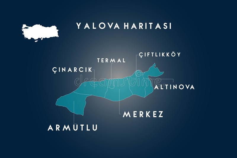 Yalova districts map, Turkey royalty free illustration