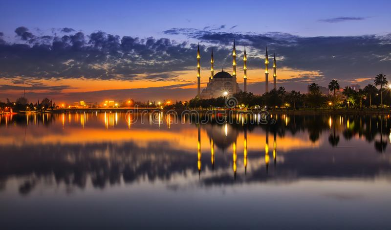 Sabanci Mosque and the park. Adana city center, located on the banks of the Seyhan River, is the largest mosque in Turkey. Design, east royalty free stock photo