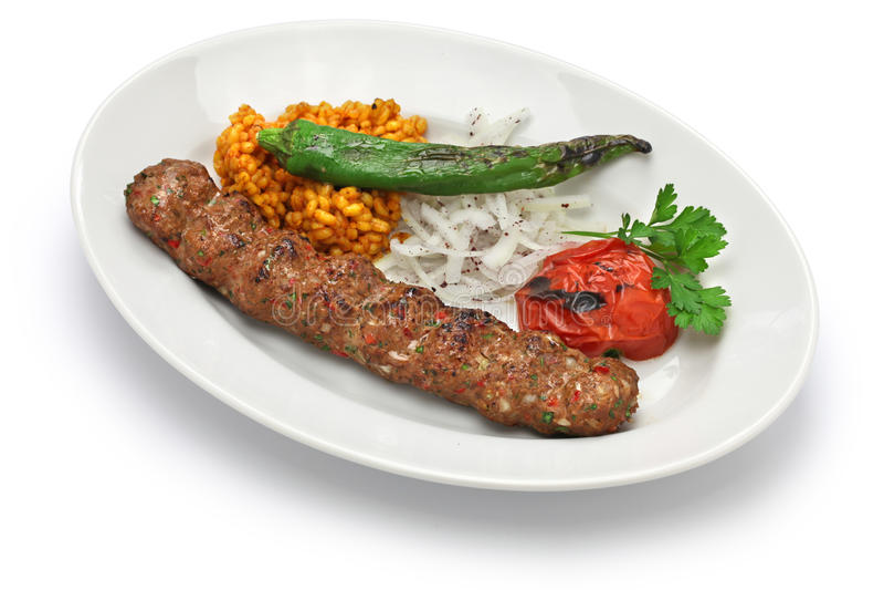 Adana kebab, τουρκικά τρόφιμα στοκ φωτογραφία με δικαίωμα ελεύθερης χρήσης
