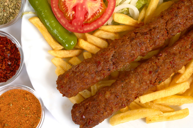 Download Adana kebap stock image. Image of fries, plate, delicious - 1294713