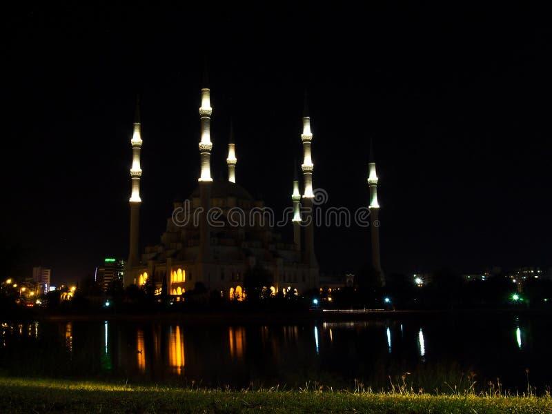 Adana miasta meczetu noc zdjęcia royalty free