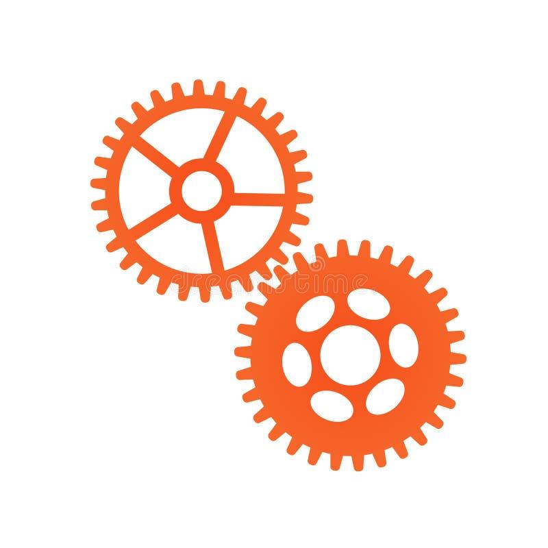 Adapta el concepto mecánico del icono, trabajando junto Ilustración del vector aislada en el fondo blanco stock de ilustración