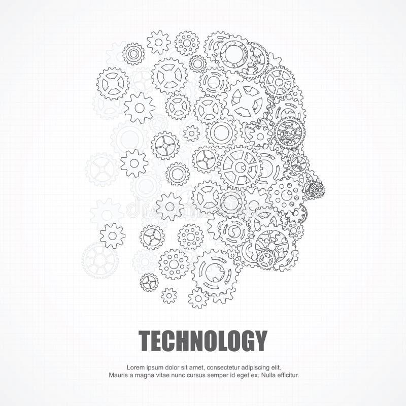 Adapta el rostro humano para la tecnología ilustración del vector