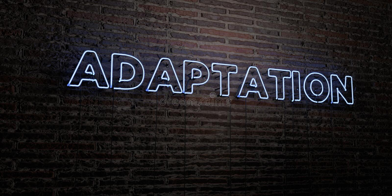 ADAPTACJA - Realistyczny Neonowy znak na ściana z cegieł tle - 3D odpłacający się królewskość bezpłatny akcyjny wizerunek ilustracja wektor
