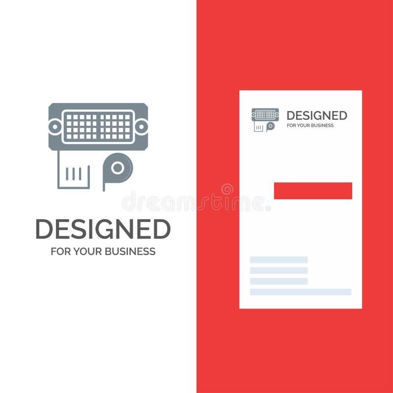 Adaptador, conexión, datos, Grey Logo Design entrado y plantilla de la tarjeta de visita libre illustration